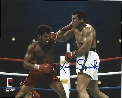 Muhammad Ali & Leon Spinks 8X10 Photo Boxing Action Autographed Spinks Signed