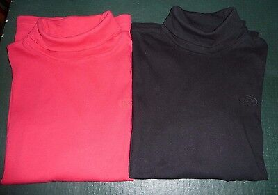 2 x Roll neck tops in red and black - unisex - Age 14 years