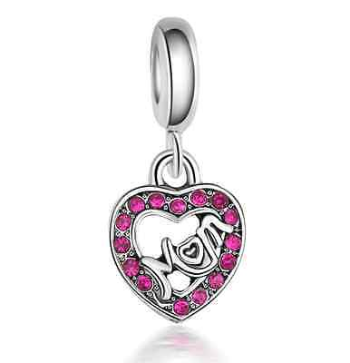 Mother gift 925 Silver Charm Beads Fit sterling Bracelet Necklace Chain C#241
