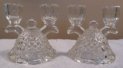 2 vintage Imperial Glass LACED EDGE double-light clear glass candle holders