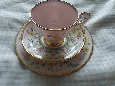 Vintage  Tuscan Bone  China  Trio  Set In  Pink With  Floral Design