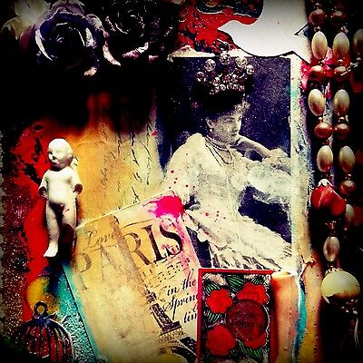 Mixed Media Collage Assemblage Art Vintage Canvas 12x9x1,1/2