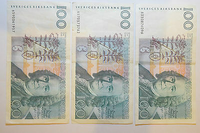 SWEDEN: 590 Kronor. 3 x 100, 1 x 50, 20 old notes and 200 x 1 Kronor coins. SEK