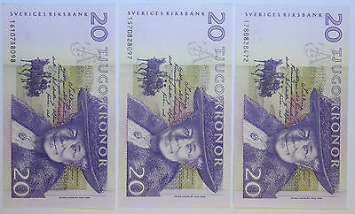 SWEDEN: 3 x 20 Kronor Swedish banknotes in UNC Condition. SEK