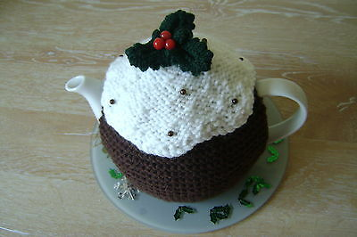 Hand knitted christmas pudding,plum pie tea cosy, teapot cozy