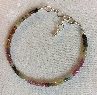 Watermelon Tourmaline and  silver bracelet, adjustable