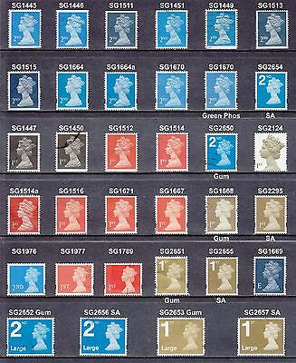 Collection Of 1989-2007 Machin 1st 2nd Class Large NVI None Security Used Stamps