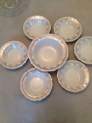 Alfred Meakin Bowl & 6 Matching Desert Dishes Gold Pattern 1930's/40's Vintage