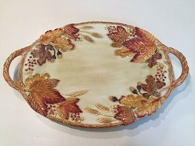 FITZ & FLOYD 2016 *HARVEST* FALL AUTUMN THANKSGIVING SERVING PLATTER Large NWT