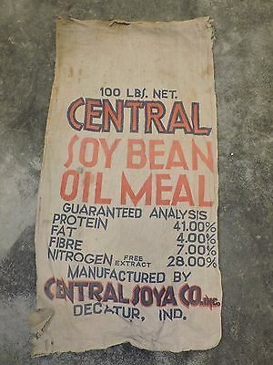 Vintage Muslin Feed Sack, Central Soy Bean Oil Meal, Decatur, Indiana