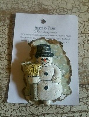 Shabby Chic White Hand Cast Paper Art Snowman Pin NWP