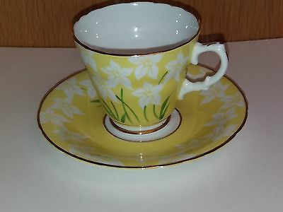 Vintage  Dakin  Yellow  And  Green  Floral  Pattern  Cup And  Saucer