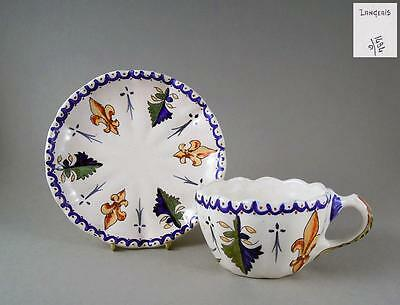 Antique hand painted french faience tea cup saucer in CA style a.1900 Langeais