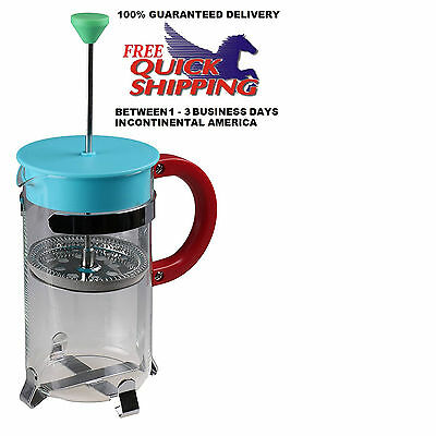 French Press Coffee Maker Leaf Tea Carafe Stainless Steel Filter 11.8 Oz Ounce