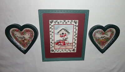 Home Interiors ''Birdhouse & Chickadees in Hearts '' Pictures  3pc Set  Gorgeous
