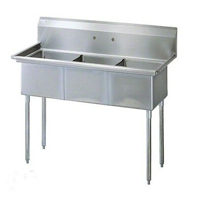 "Commercial Kitchen Stainless Steel 3 Compartment Sink 59"" x 24"""