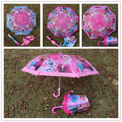 New Girl's Disney Frozen Elsa Anna Cartoon Child Floding Kids Umbrella Gift
