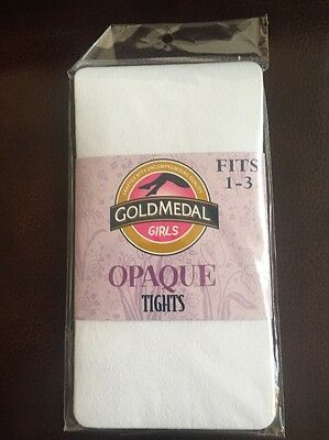 New Girls White  Tights Size 1-3