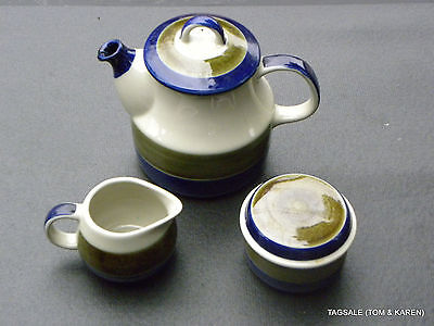 ELISABETH by RORSTRAND ~ TEAPOT, CREAMER & SUGAR  ~ HAND PAINTED STONEWARE