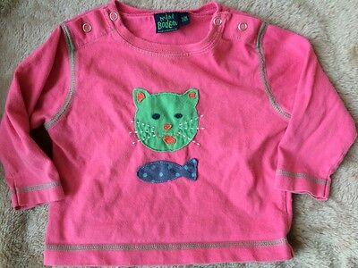 Mini Boden Baby Girl Pink Cat Fish Top 3-6 months