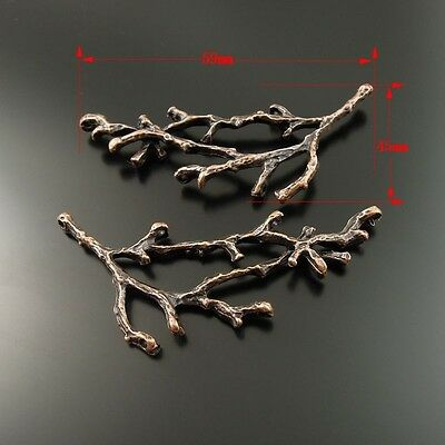 **35351 Red Copper Alloy Branches Shaped Pendants Charms Crafts Findings 4pcs
