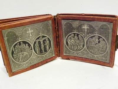 Rare Antique Silver Book – Christ and the Cross – Lourdes