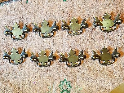 Brass Drawer Pull (8) Ornate / Great Patina / Antique / Solid Brass / Henry Link