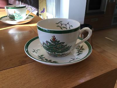 Spode Christmas Tree Pair Of Cups And Saucers
