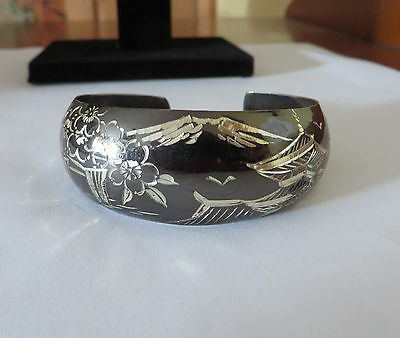 Vintage Japanese sterling silver cuff bracelet Snow topped mountain