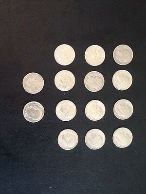 American One Dime Coins X 14