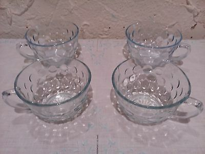 4 Blue Bubble Cups Anchor Hocking 40s, 50s, 60s