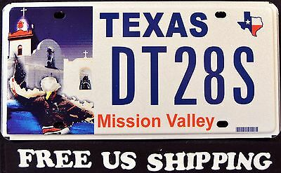 """TEXAS """" MISSION VALLEY """" Graphic License Plate FREE US SHIP"""
