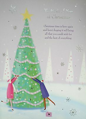 To Both of You Large Traditional Christmas Card Lovely Words Size: 300mm x 220mm