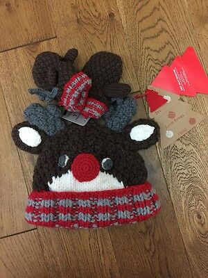 Bnwt Girls And Boys Next Knitted Reindeer Hat And Mittens Set Age 1-2 Years