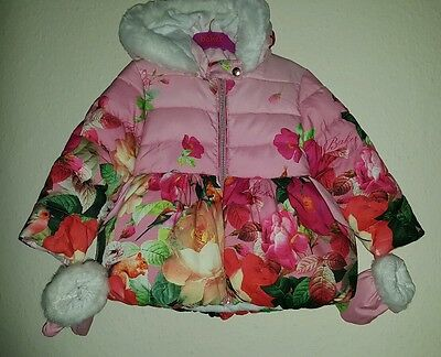 TED BAKER Girls floral bubble coat & gloves 4-5 years