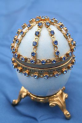 Fine Gold  24K Plated Fabrerge Egg Jewellery Ornament Box  Made In England