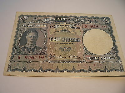 Banknote Government of Ceylon  10 Rupees  1942