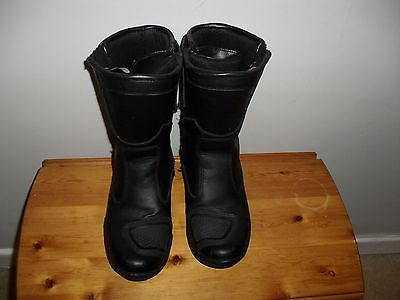 Rk Sport Black   Leather  Armour  Motorcycle   Boots Size 4  Eu 38