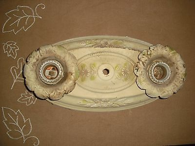 Vintage 1920's Metal  Flush Mount Art Deco  Light Fixture