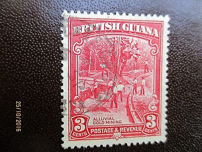 British Guiana 1934 Stamp Of Alluvial Gold Mining Carmine Red 3 Cents.