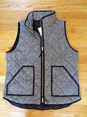 J. CREW Excursion Vest Quilted Down Puffer BLACK Zip Herringbone S Small NWT