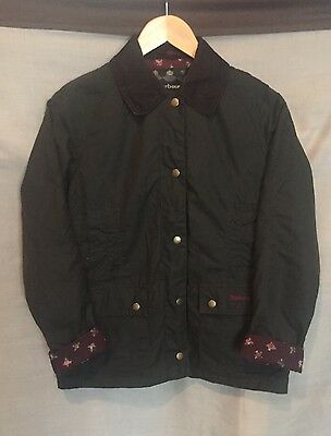 Girls BARBOUR Chamber Beadnell Waxed Jacket - X-Large Green Rose Print Lining