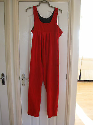 maternity dungarees red needle cord size 16 C&A Clockhouse from 1980's