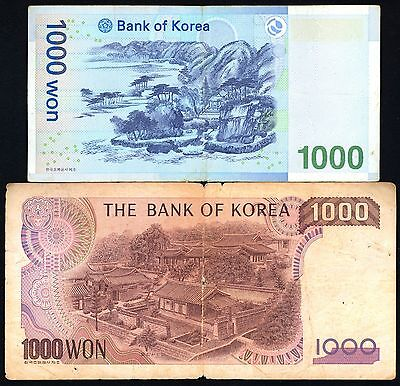 South Korea Lot 2 Bank Notes 2 Different 1000 Won Nd Nice Old Paper Money Bills