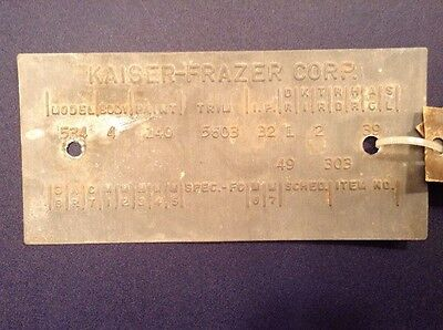 Kaiser Henry J Body Code Number Plate Serial Identification