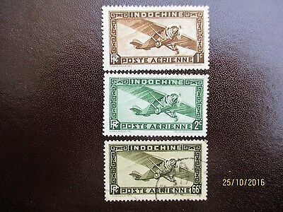 INDO CHINE 1933 STAMPS - 3 AIR MAIL 1c, 2c & 66c GOOD USED CONDITION