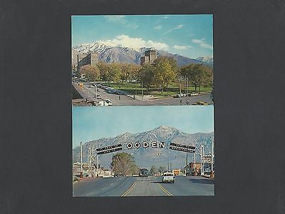 2 Classic Postcards of Ogden, Utah-Welcome Arch and City Park