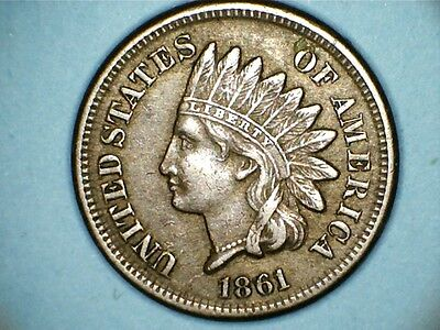 A nice 1861 indian head cent nice grade-civil war issue,collectors period