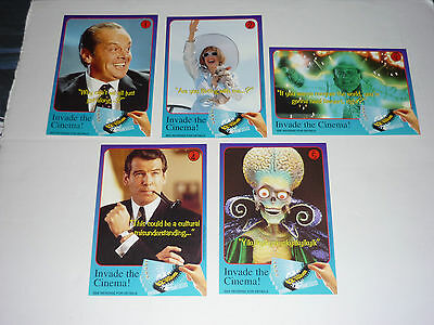 Mars Attacks VERY RARE SET OF 10 PROMO FILM ADVERTISING CARDS EXCELLENT