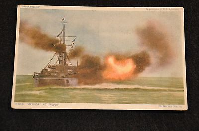 Wwi British Post Card Hms Africa At Work - October 1918 Cancellation